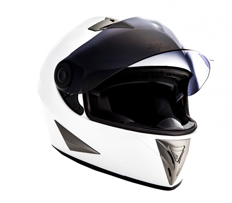 53-54cm SOXON ST-550 Snow /· Sport Helmet Casco Integrale Scooter Moto Cruiser Urbano Urban /· ECE certificato /· compresi parasole /· compresi Sacchetto portacasco /· Bianca /· XS
