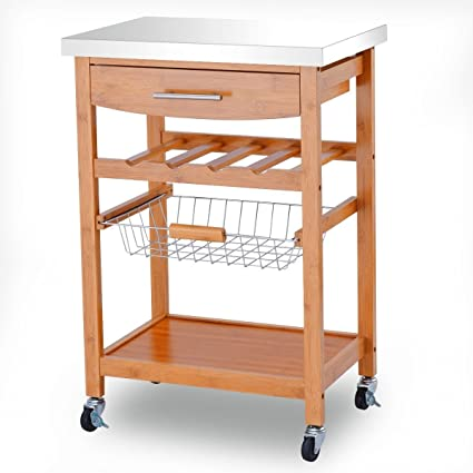amazon com md group kitchen trolley cart storage rolling bamboo rh amazon com Rolling Kitchen Cart Stainless Steel Commercial Stainless Steel Kitchen Carts