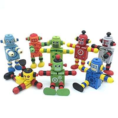 Alikeke 6 Pcs Newest Creative Personality Building Blocks Toys Early Educational Toys Wooden Deformation Elastic Robot for Children Toy Gift: Toys & Games