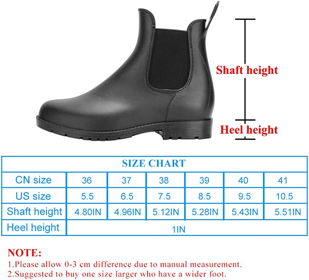 | DAWAN Women's Anti-Slip Rain Boots Short Garden Shoes Waterproof Chelsea Booties | Rain Footwear