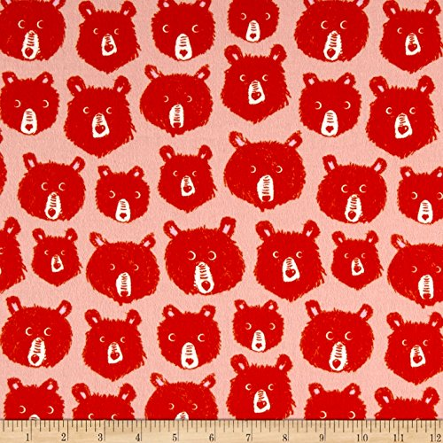 Cotton + Steel Brushed Cozy Teddy and The Bears Pink Fabric by The Yard (Fabric Teddy Bear)