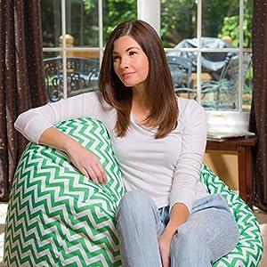"Posh Bean Bag Chair for Children, Teens & Adults - 35"", Chevron Green and White"