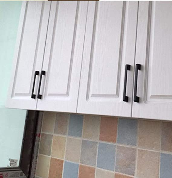 aleaci/ón de zinc 128 mm barra de armario de cocina Juego de 10 tiradores y tiradores de puerta de armario de color negro mate NUZAMAS de centro a centro 166 mm de largo