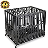 Gelinzon Dog Cage Crate – Heavy Duty Strong Metal Kennel Playpen for Large Dogs with Four Wheels Review