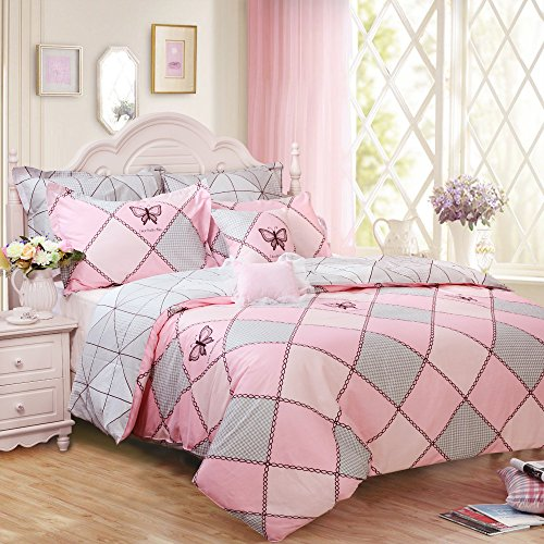 Brandream Pink Butterfly Bedding Sets Kids Reversible Duvet Cover Set Full Size 100% Cotton 3pcs(1 Duvet Cover + 2 Pillowcases)