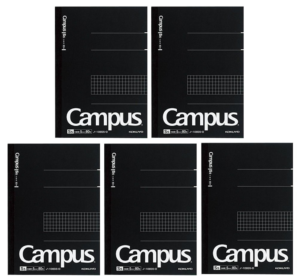 Kokuyo Campus Pre-Dotted Notebook, Semi A5, 5mm Grid Ruled - 80 Sheets - 160 Pages, Black (5 pack)