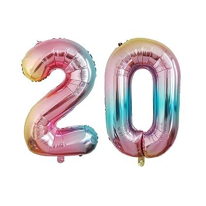Amazon.com: Number 20 Foil Balloons Aluminum Mylar Balloons ...
