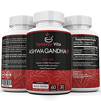 Ashwaganha Plus 650mg Black Pepper 5mg – Pure and Potent Dosage – Imrpove Sexual Health, Decrease Stress, Anxiety, Enhance Energy and Focus, Supports a Healthy Nervous System, Healthy Adrenaline