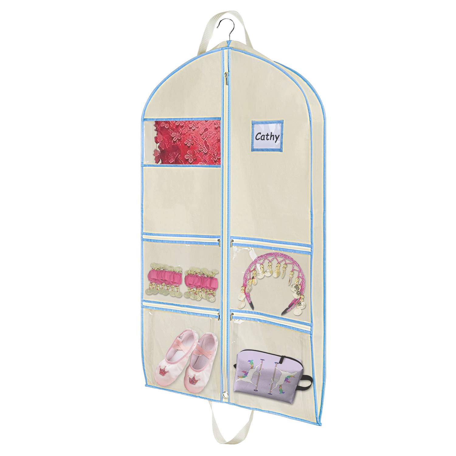 Zilink Dance Costume Garment Bag with Zipper Pockets and Handles for Children Dance Competition Carrying and Closet Storage (24'' x 40'' x 3'') …