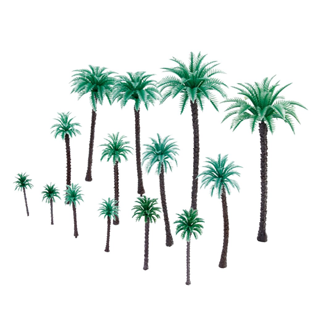 14pcs 1/50 1.9 inch - 6.6 inch Coconut Model Palm Trees Layout Train Scale Generic SHOMPFL1433