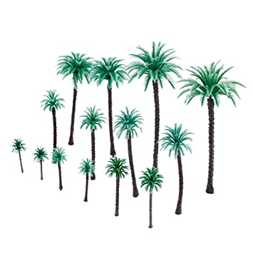 amazon com 14pcs 1 50 1 9 inch 6 6 inch coconut model palm trees