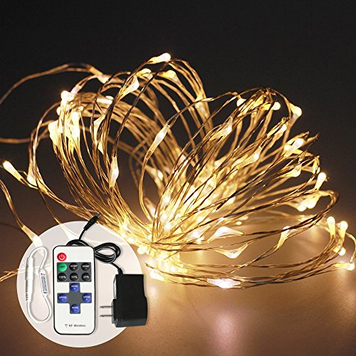 Tour Outdoor LED String Lights Waterproof Dimmable LED Decorative Lights for Patio, Party, Christmas, Wedding (16ft 50LEDs, Warm White) - 12 Volt Christmas Lights