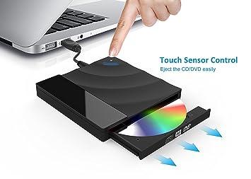 Unidad de DVD y CD externa USB 3.0, grabador de CD y DVD ultra delgado