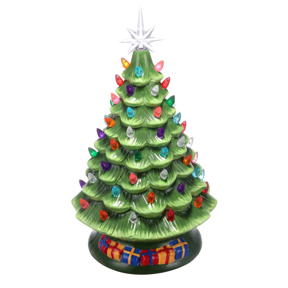UNIFEEL 15in Pre-Lit Hand-Painted Ceramic Vintage Tabletop Artificial Christmas Tree Decor with 50 Multicolored Lights, Star Topper - Traditional Christmas Decoration Green by UNIFEEL