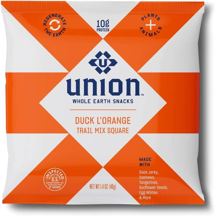 Trail Mix Bars - Duck L'Orange (Four Pack) Hiking, Backpacking and Survival Food from UNION Snacks. Whole Earth Snacks with 10g Protein per Serving. Healthy Food, Healthy Snacks 1.4 Oz
