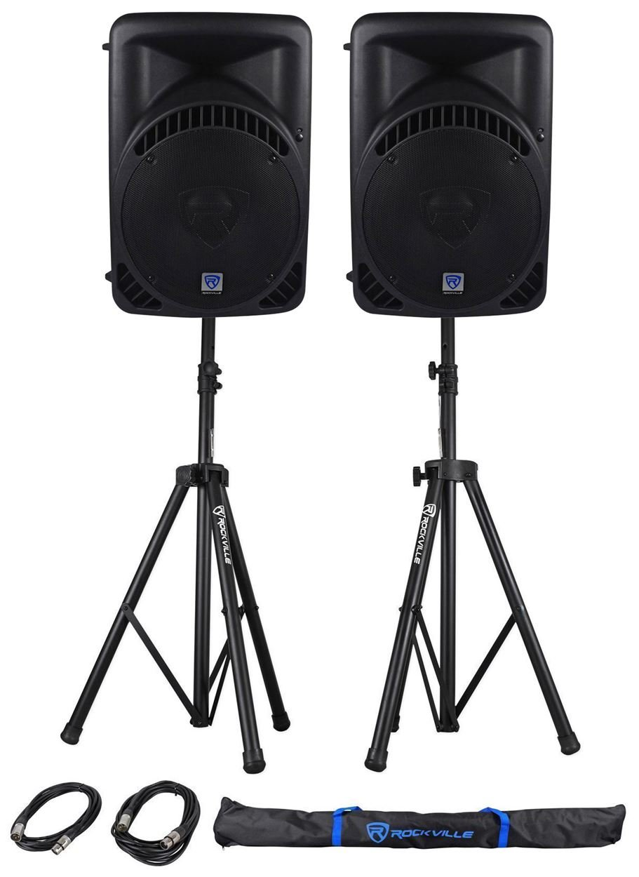 (2) Rockville RPG15BT 15'' 2000w Powered BlueTooth/USB DJ Speakers+Stands+Cables