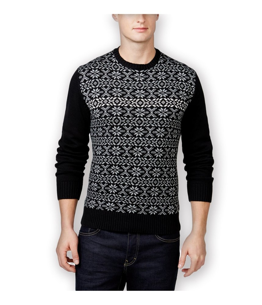 Weatherproof Mens Small Snowflake Crewneck Sweater Black S