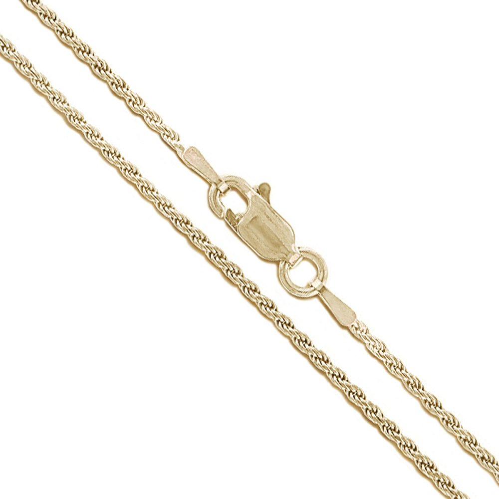 10k Yellow Gold Solid Round Rope Link Chain 1.1mm Necklace 22''