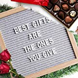 Double Sided Felt Letter Board -10x10 Pink Gray Changeable Message Board Oak Frame Stand, Pre-cut Letters 378 Letter Number Emojis, Home Office Decorations, Girls Kids Photo Prop Board Sign