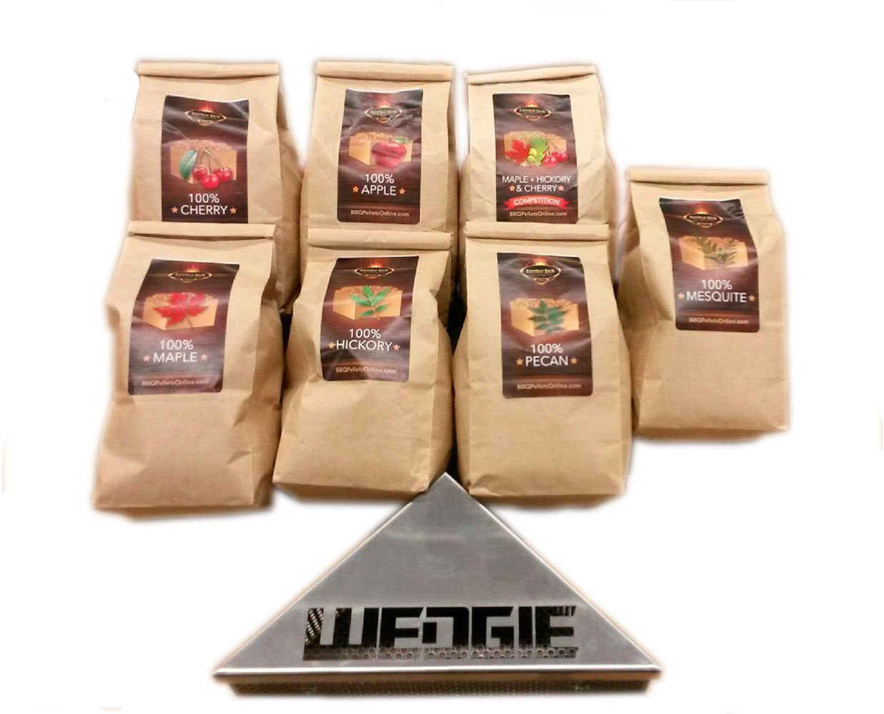 Smokin Wedgie with Lumber Jack BBQ 7 varieties Pack - 1 Lb. Bag - 100% (Apple, Cherry, Pecan, Hickory, Maple-Hickory-Cherry, Mesquite and Maple)