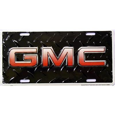 GMC Diamond Plate Black License Plates Plate Tag Tags auto vehicle car front: Automotive