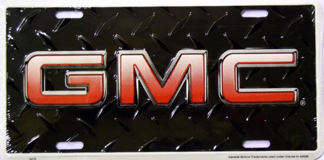 GMC Diamond Plate Black License Plates Plate Tag Tags auto vehicle car front