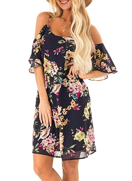 4ab9dc5ebf AlvaQ Women Summer Floral Print Ruffle Cold Shoulder Casual Mini Dress at Amazon  Women's Clothing store: