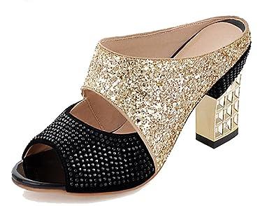 cafdf0c05d61a Amazon.com | SHOWHOW Women's Comfy Sequins Rhinestones Mules - Peep Toe  Chunky Mid Heel - Slip on Sandals | Heeled Sandals