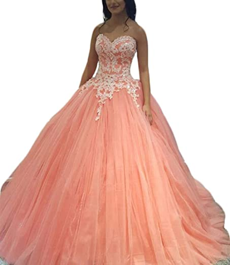 Princess Quinceanera Ball Gown Quinceanera Dresses Coral Vestidos 2017