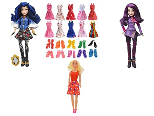 Disney Descendents Dolls Multipack Mal Isle Of The Lost And Evie Isle Of The Lost Dolls Plus An 11 Inch Fashion Doll With 10 Handmade Fashion Doll Gowns