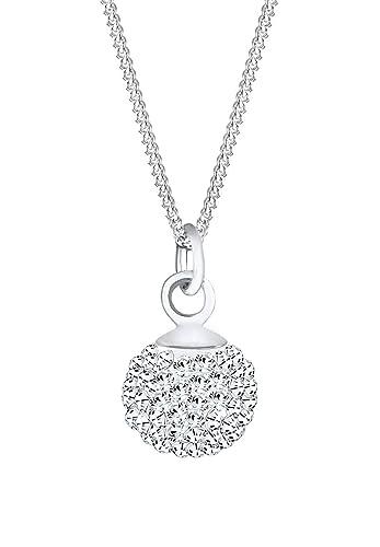 Elli Women's 925 Sterling Silver Xilion Cut Crystal Ball Jewellery Set with Chain p2Jq4Tr0VI