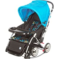 Mee Mee Baby Pram with Rocker and 3 Seating Positions, Blue/Black