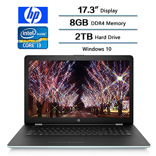 HP 17.3″ HD+ Notebook (2018 New), Intel Core i3-7100U Processor 2.4 GHz, 8GB Memory, 2TB Hard Drive, Optical Drive, HD Webcam, Backlit Keyboard, Windows 10 Home, Pale Mint