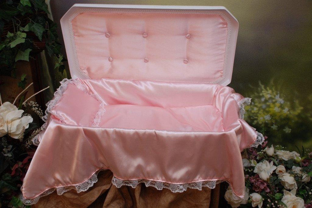 Deluxe Pet Casket - Choose Color - Burial Casket by Pet Memory Shop (Medium, White/Pink)