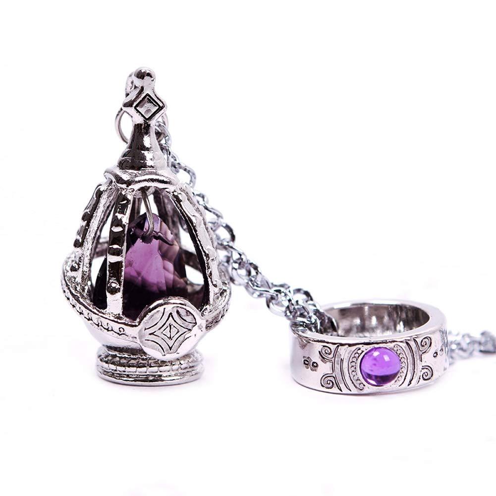 New Puella Magi Madoka Magica Soul Gem Necklace + Ring Cosplay Set Purple