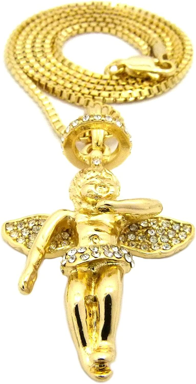 NYFASHION101 Stone Stud Baby Halo Angel Pendant w//Chain Necklace