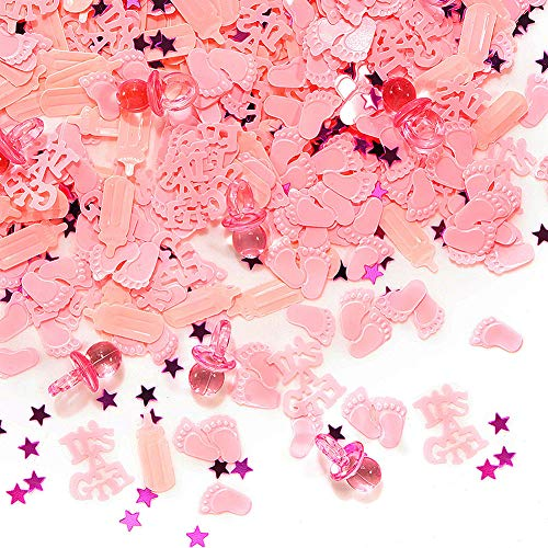 Baby Shower Table Confetti (QILICHZ It's A GILR Baby Shower Confetti,3600pcs Mini Acrylic Table Confetti Table Scatter Decor Party Confetti Baby Shower Favors Decor for Baby Shower Birthday Wedding Party Table)