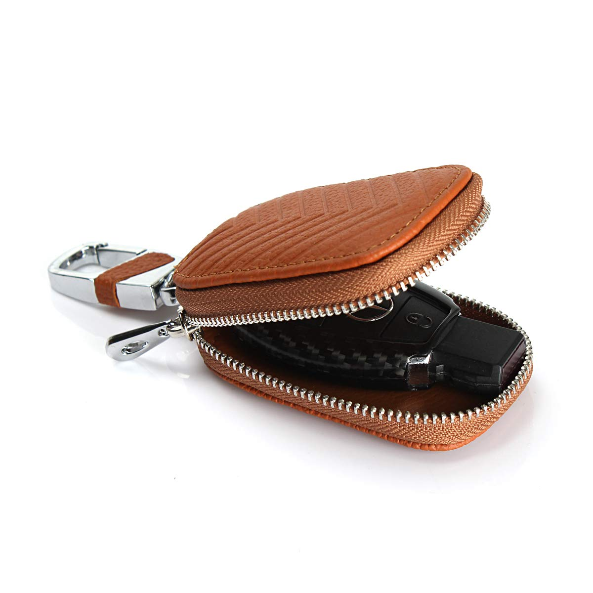 Jaorty Car Key Chain Bag Genuine Leather Key Chains Case Smart Keychain Coin Holder Case Cover Pouch Remote Fob Bag Keyring Wallet Zipper Case Khaki