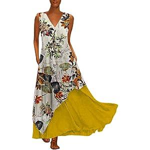 7170ced48e6d Sannysis Damen Vintage Blumen Maxikleider Langes Elegantes Kleider ...