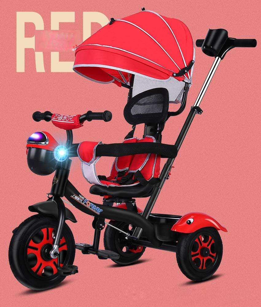Lhh Baby Triciclo Passeggino Pieghevole con Flash Musicale Sedile Girevole Regolabile A 360 ° per Bambini 6 Mesi A 5 Anni,Red