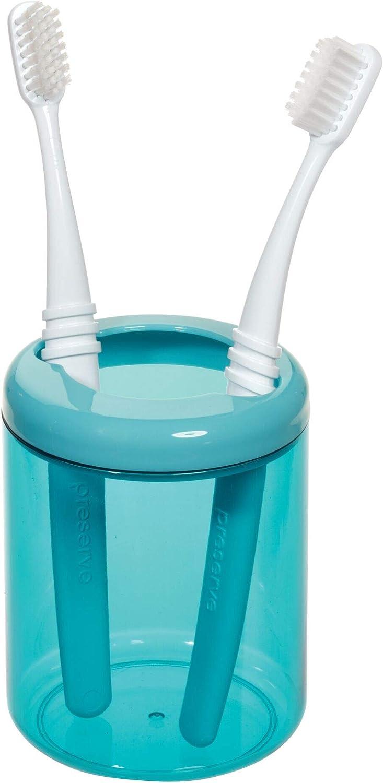 moderno organizador de maquillaje con gran abertura iDesign Portacepillos de dientes peque/ño vaso de pl/ástico para guardar maquillaje o cepillos dentales azul