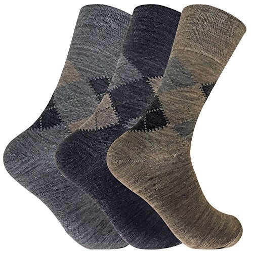 3 Pack Mens Thin Warm Non Binding / Elastic Top Argyle Lambs Wool Hiking Socks (7-12 US, SE049 ()