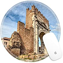 Luxlady Round Gaming Mousepad 25983641 Arch of Augustus in Rimini Italy ancient romanesque gate of the city historical italian landmark the most ancient roman arch that still stands intact