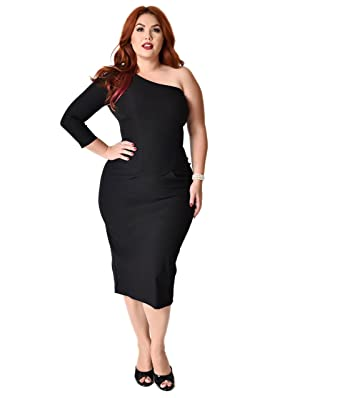 Stop Staring Plus Size 1950s Style Black One Shoulder Stretch