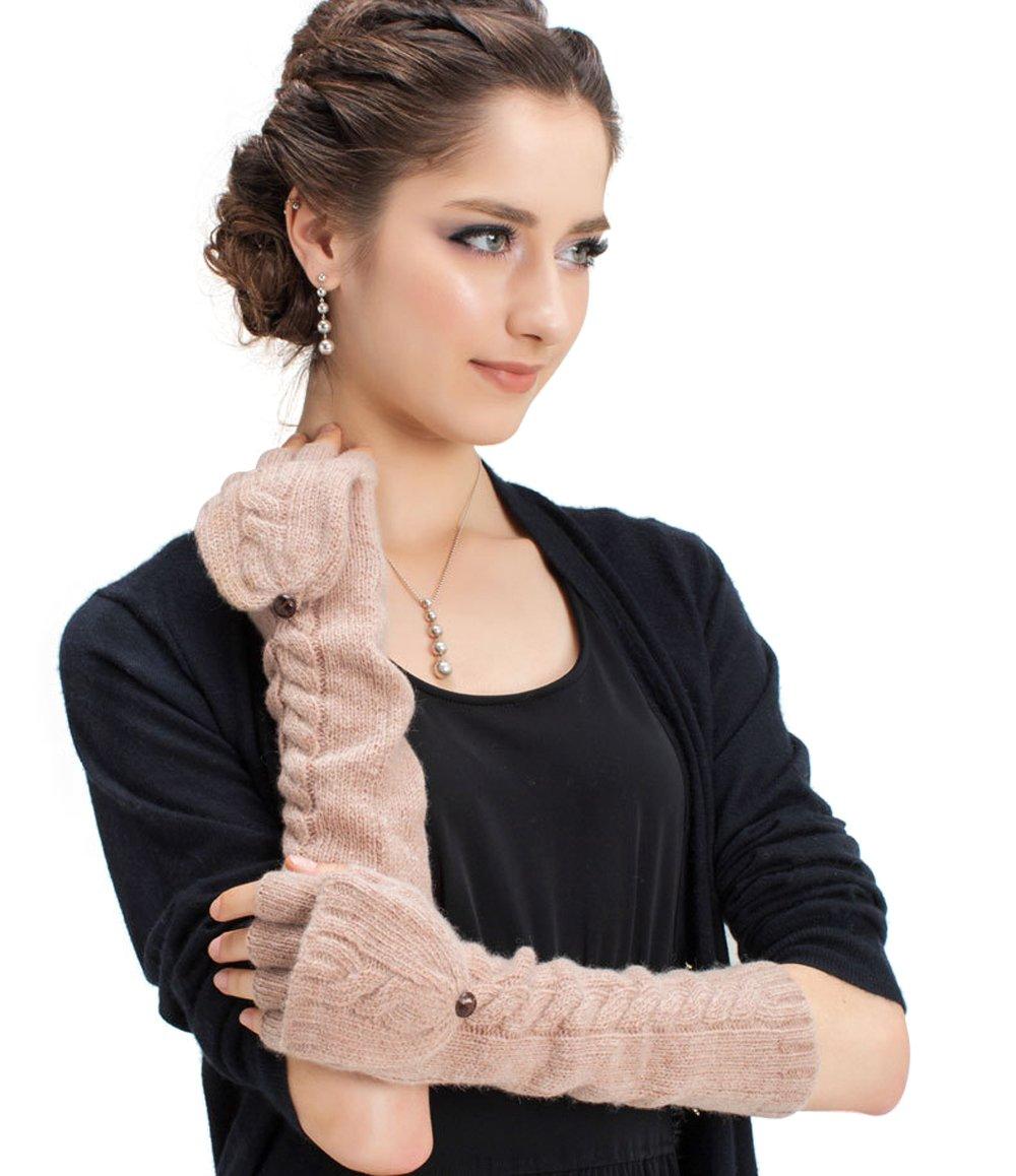 Womens Wool Cashmere Soft Winter Warm Gloves Arm Warmer Long Fingerless Gloves
