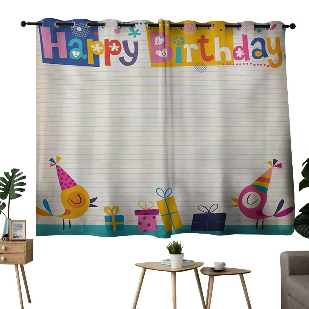 color14 42 x63 (W106cmxL160cm) NUOMANAN Blackout Curtains 2 Panels Kids Birthday,Baby Girl Birthday Celebration Party with Flags and Bears Cute Toys Print,Pale Pink,Blackout Draperies for Bedroom Living Room 42 x45