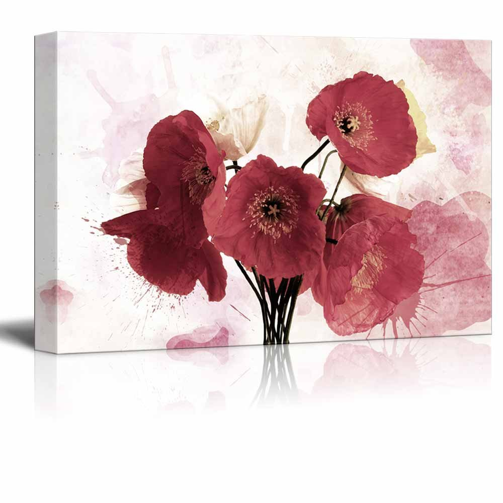 Red poppy flower on watercolor style background canvas art wall26 red poppy flower on watercolor style background mightylinksfo