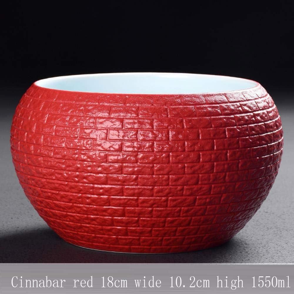 陶磁器の水仙の銅の硬貨の草の人格創造的なスイレン無孔の大きい水産養殖植物の水耕植木鉢の赤、Cinnabarの赤い洗面器