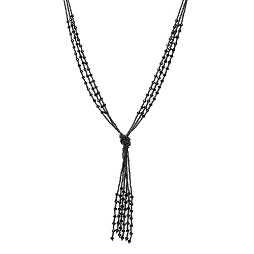 Zhenhui Vintage Long Black Beaded Tassel Pendant Necklace for Women