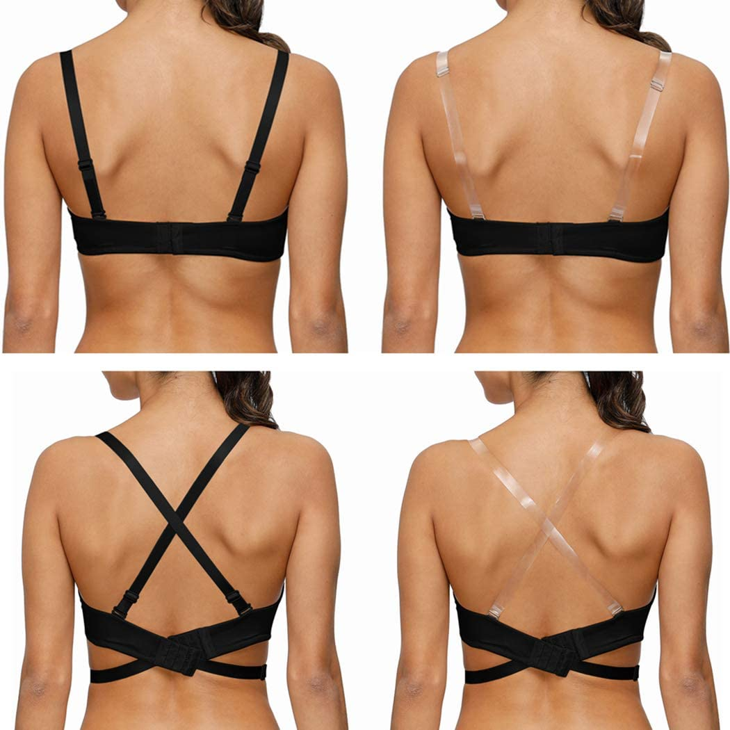 YANDW Push Up Padded Demi Cup Plunge Bra Low Cut Deep V Multiway Backless with Clear Straps Low Back Extender
